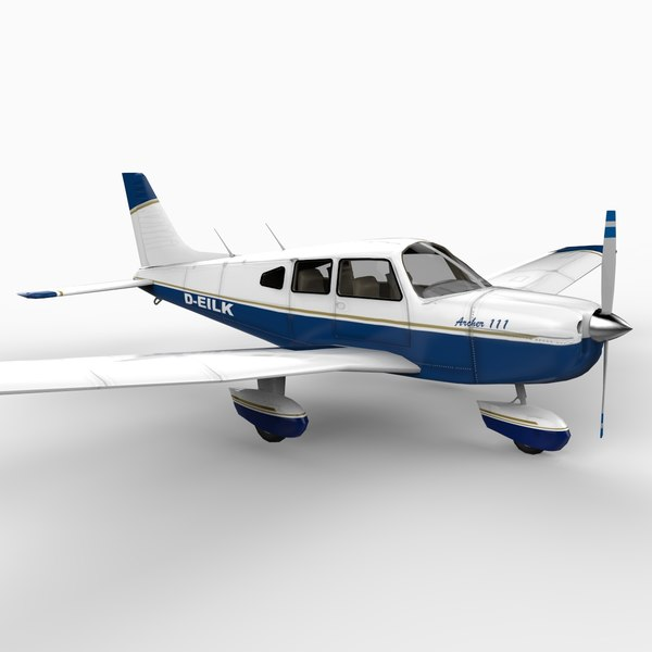 piper archer aircraft plane 3d model