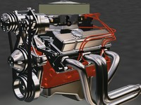 resolution small block motor engine 3d max