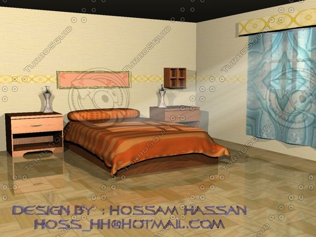 bed room 3d dwg