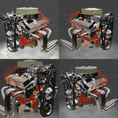 4 different resolution small block 3d max