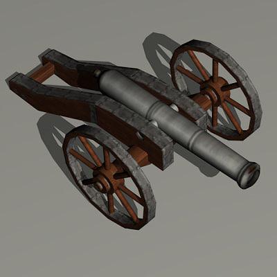 cannon 16th century 3d model