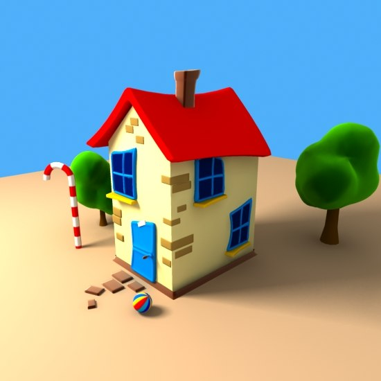 child house cartoon playground 3d model