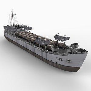 lst landing transport ship boat 3d model