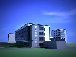 bauhaus architecture landmark 3d model