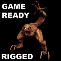 3d ready monster character gimp model