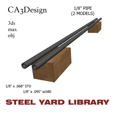 3d 1 8in pipe steel model