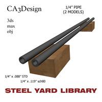 1 4in pipe steel 3d model