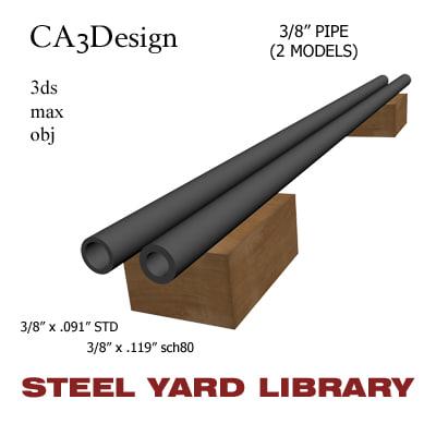 3 8in pipe steel 3d model