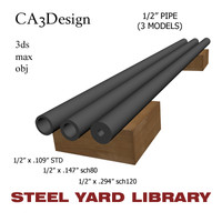 1 2in pipe steel 3d model