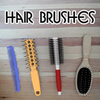 hair brushes 3d obj