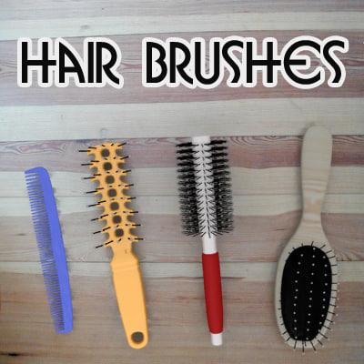 hair brushes 3d obj