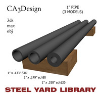 1in pipe steel 3d max