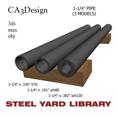 3d model 1-1 4in pipe steel