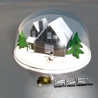 3ds max christmas snow globe