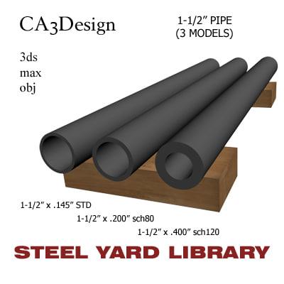 3d model 1-1 2in pipe steel