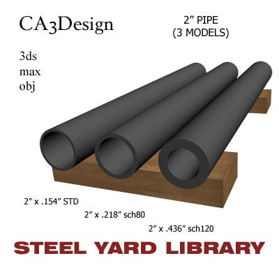 3d 2in pipe steel model