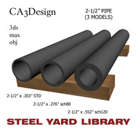 2-1 2in pipe steel 3d max
