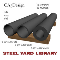 3-1 2in pipe steel 3d model