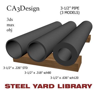 3-1 2in pipe steel 3d model