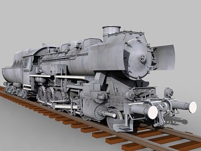 baureiche locomotive br-52 engine 3d model