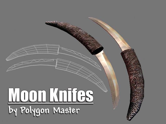 knifes moon 3d obj