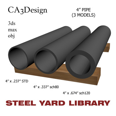 4in pipe steel 3d model