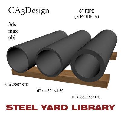 3d 6in pipe steel