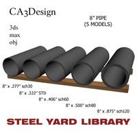3dsmax 8in pipe steel