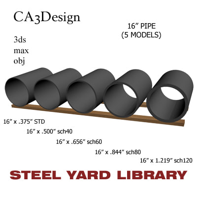 3ds max 16in pipe steel
