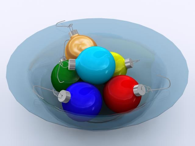 3d model christmas decoration glass bowl