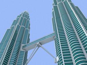 petronas twin towers 3d model