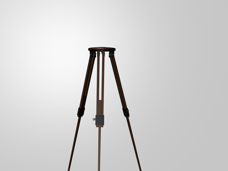 3d old wooden tripod