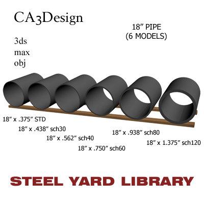 3d 18in pipe steel