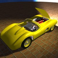 1950s style British sportscar with interior panels and engine