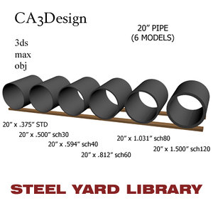 20in pipe steel 3d 3ds