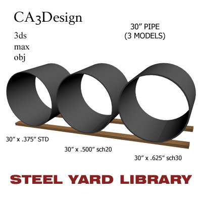3d 30in pipe steel
