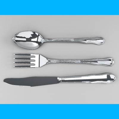 3d knife fork spoon model