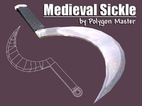 medieval sickle obj