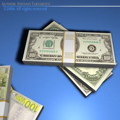 3d model euro banknotes