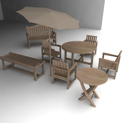 3ds garden benches tables chair