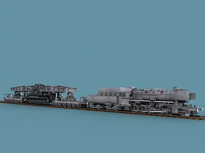 wwii german karl steam locomotive 3d model