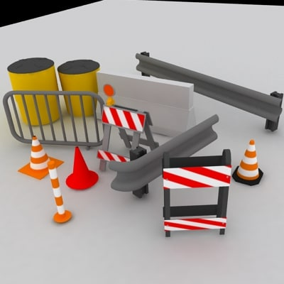 road barriers 3d max