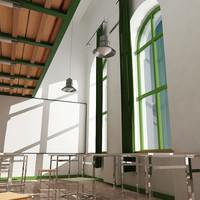 3ds max classroom 02 interior