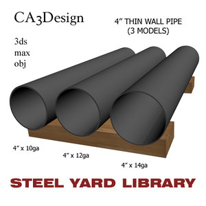 3d model of 4in pipe steel