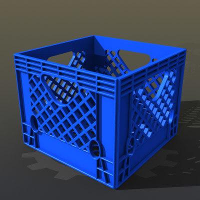 plastic milk crate 3d model