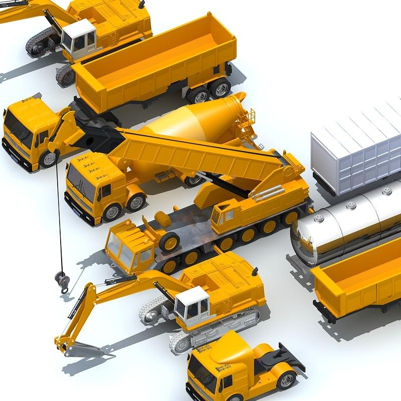 3d construction vehicles pack model