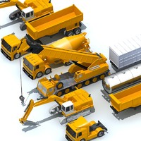 3d construction vehicles pack model