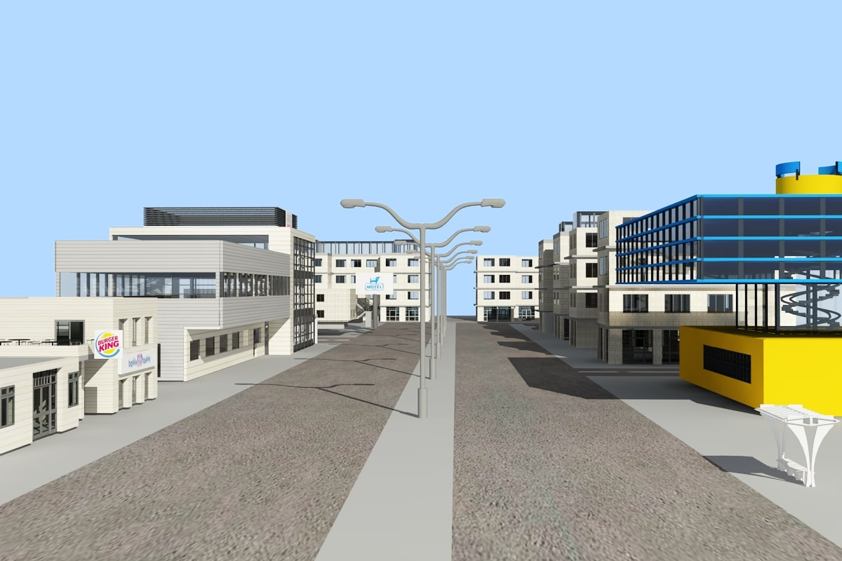 3d model city zipped office buildings
