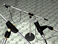 Microphone stand with cable and mic