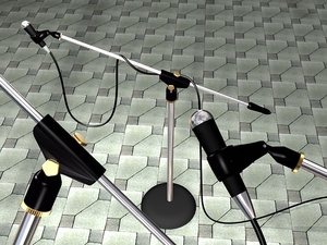 3d microphone stand cable mic model